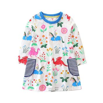 Toddler Cotton girls dresses long sleeve children dresses 2018 new autumn spring kids clothing flowers unicorn dressese