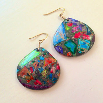 Rainbow Drop Earrings - Jasper Jewellery - Pyrite - Gemstone Jewelry - Chunky - Sea Sediment Jasper - Multicolor