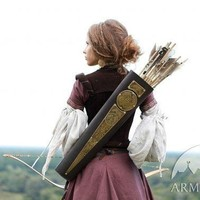 Womens Archery Quiver Leather Bowman Archeress Series Etched Brass