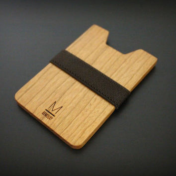 Slim wallet, credit card holder, men and women wallet , wood minimalist slim, modern design, (Brown X Cherry), wallet for gift