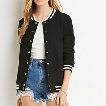 Varsity-Striped Bomber Jacket