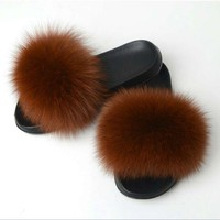 DCCK7BE New Women Fashion Genuine Fox Fur Slipper Indoor Outdoor Flat Soft Summer Slide