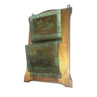 French Oak & Etched Brass Mail Wall Pocket