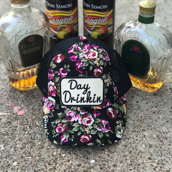 Day Drinkin' Floral Hat with adjustable strap