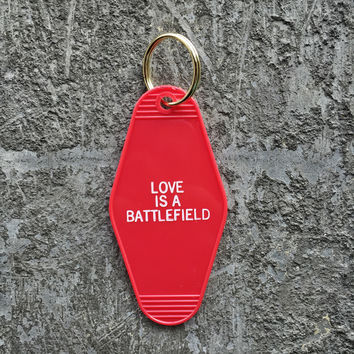 Love Is A Battlefield Hotel Key Fob in Red