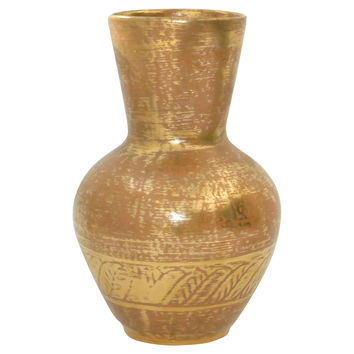 22K Gold Washed Pottery Vase