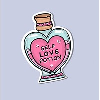 Self Love Potion in Pink Heart-Shaped Bottle Sticker