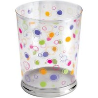 mDesign Bright Dots and Circles Bath Wastebasket Trash Can, Clear/Chrome