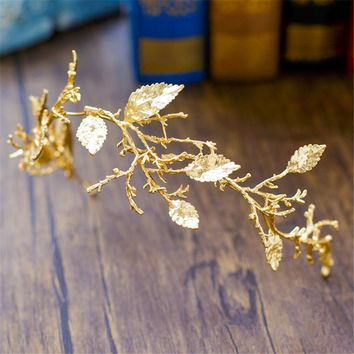 Gold Leaf Baroque Tiara Headband Flower Crown Hair Jewelry Bridal Hairband Headpiece Hair Band Wedding Hair Accessories WIGO0983