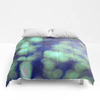 Green Comforter - Bokeh Photography - Bed Cover - Bedding - King - Queen - Full - Made to Order