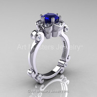 Art Masters Caravaggio 14K White Gold 1.0 Ct Blue Sapphire Diamond Engagement Ring R606-14KWGDBS
