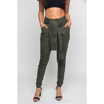 Tied Sleeve Illusion Cargo Jogger Pants