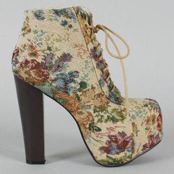 Leah-102 Embroidered Floral Lace Up Bootie