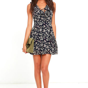 JOA Come See Me Navy Blue Floral Print Skater Dress