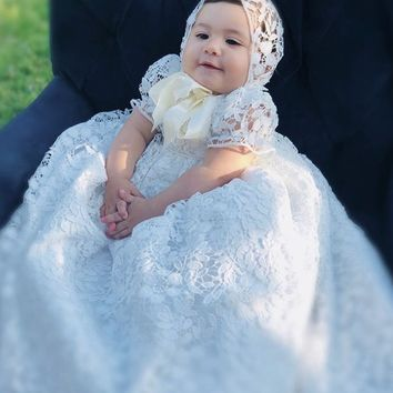 Rosalba-christening gown-baptism lace gown-bautizobaby-bautismo