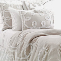Ruched Linen Platinum/White Duvet Cover