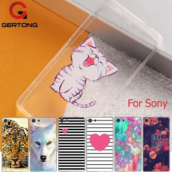 GerTong Cartoon Pattern Cover Phone Case For Sony Xperia Z1 Z3 Mini Compact Z4 Z5 M4 Aqua M5 X XA XP XZ XA1 Soft Silicone Cases