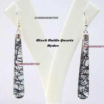 Black/Golden Rutile Quartz Hydro Flat Long Drops Earrings