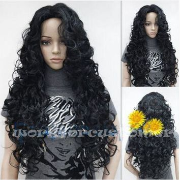 "26"" Hot Sales~New Stylish Sexy Women Fashion Black Long Wave Curly Wig Natural Hair"
