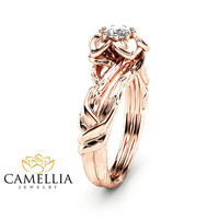 14K Rose Gold Diamond Engagement Ring  Inspired by Nature Branch Ring Unique Rose Gold  Ring