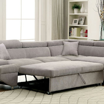 CM6124GY 2 pc foreman gray flannelette sectional sofa pullout sleeping area