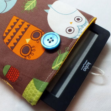 Owl Padded Sleeve iPad Case Padded Cover - Kindle Touch Cover, Kobo Touch Cover, Sony Cover iPhone or other smartphone