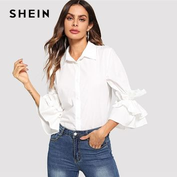 SHEIN White Tiered Layer Ruffle Sleeve Button Shirt Elegant Plain 3/4 Sleeve Casual Blouse Women Autumn Tops And Blouses
