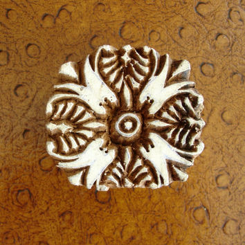 Flower Stamp, Clay Stamp, Hand Carved Wood Stamp, Round Handmade Printing Block from India, Mendhi Henna Tattoo Design