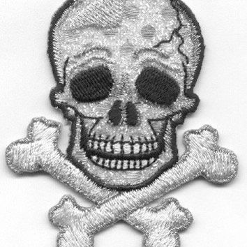 Skull and Cross Bone Ion on Patch Skull Patch Applique GOTHIC SKULL Iron or Sew On Patch Skull Applique by Cedar Creek Patch Shop on Etsy