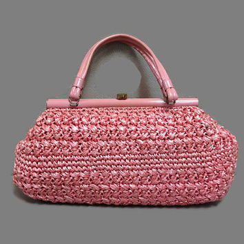 1950s Purse / 1960s Purse / Vintage Pink Raffia Shoulder Bag, Rockabilly Picnic Purse, Gaybrand