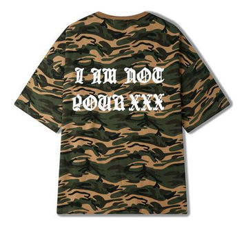New Arrive Kanye Funny T-shirt Men Skateboard Streetwear Clothing Hip Hop Kanye West Camouflage T Shirt Moto Skateboard Top Tee