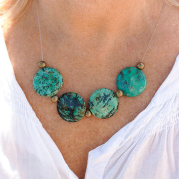 Necklace turquoise African Boho, semi-precious stone, Gypsy, ethnic jewelry turquoise necklace