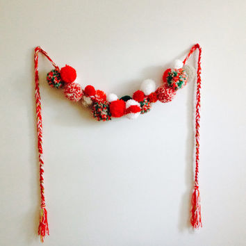 Christmas Candy Cane, Pom-pom yarn garland, braided, Christmas garland, Red, Green, and white yarn