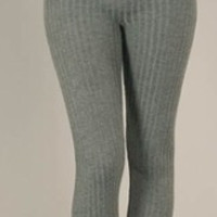 Hi Waist Solid Color Textured Fleece - Lined Leggings