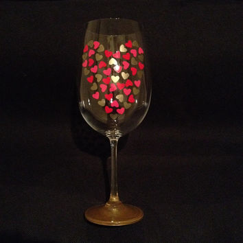 Heart Wine Glass, Valentine's Day Wine Glass, Gold Heart Wine Glass