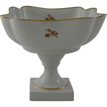 Vintage Limoges France Porcelain Compote Centerpiece Fruit Bowl Gold Gilt Floral Bouquet Pedestal Square