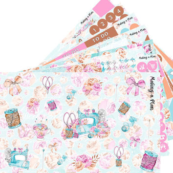 I Love Sewing Weekly  Vertical Kit Planner Stickers for use with ERIN CONDREN LIFEPLANNER