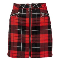 Red and Black Plaid Punk Rock Mini Skirt