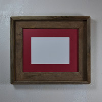 8x10  picture frame with red mat for 5x7 or 8x6 photo or print. Handmade in the USA.