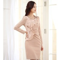 Pink Apparel Women Autumn New Style Korean Style Lace Embroidered Flower Slim Vogue Long Sleeve Cotton Dress S/M/L @WH0425p $35.39 only in eFexcity.com.