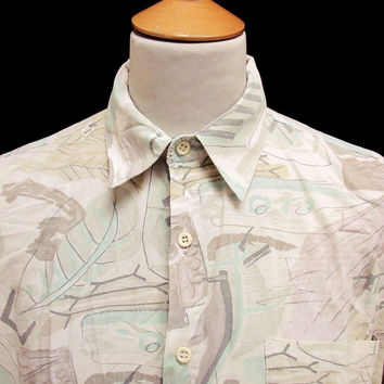 Vintage 90's Abstract Line Nature Patterned Shirt L