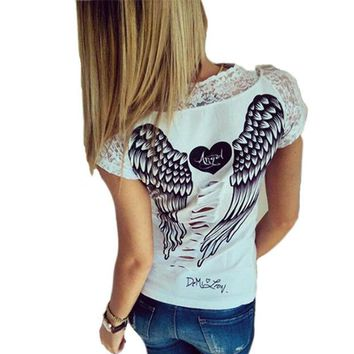 CWLSP Hot sale Angel Wings Print Lace Patchwork  T shirts For Women Back Laser cut Hollow out Short Sleeve Tops 2015 New QL1764