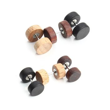 3Pair Fashion Stainless Steel Wood Barbell Screw Stud Earrings Punk Style Double Sided Ear Jewelry For Men F3712