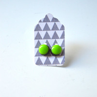 Stud Earrings - Black and Kiwi Lime Stud Earrings - Tiny Stud Earrings - Post Earrings - Colorful Earrings - Handmade Enamel Jewelry Studs