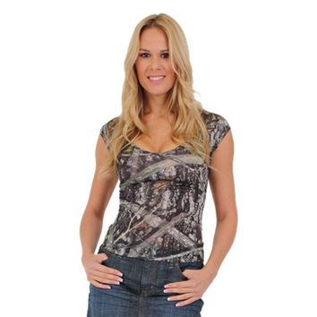 Women's Camo V-Neck Shirt True Timber Camouflage Blouse Made in the USA
