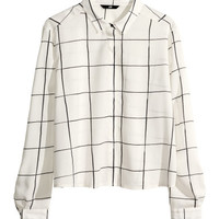 H&M - Patterned Blouse - White - Ladies