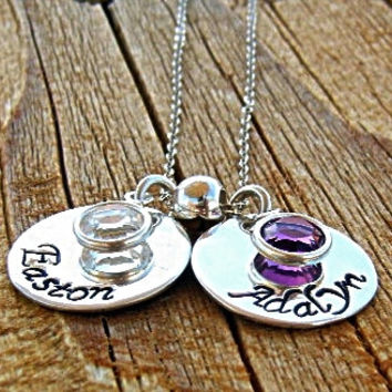 Hand Stamped Mommy Necklace Custom made with 2 children and birthstone drops or swarovski crystals