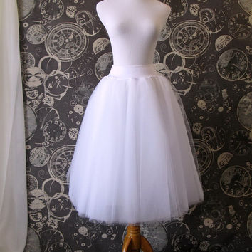 White Tulle Skirt - Adult Tea Length Tutu, Crinoline or Petticoat - Custom Size, Made to Order
