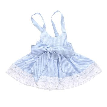 Summer Light Blue Baby Girls Cute Bubble Yarn Blue Striped Dresses Kids Girl Princess Bowknot Dress 0-24 Monts