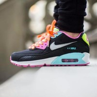 Best Online Sale Nike Air Max WMNS 90 GS Fruit Loops Black Pink Running Shoes Sport Shoes 345017 063